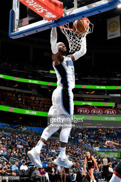 Terrence Ross of the Orlando Magic dunks against the Miami Heat during a preseason game on October 8 2017 at Amway Center in Orlando Florida NOTE TO...