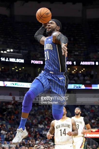 Terrence Ross of the Orlando Magic dunks the ball against the New Orleans Pelicans at the Smoothie King Center on October 30 2017 in New Orleans...