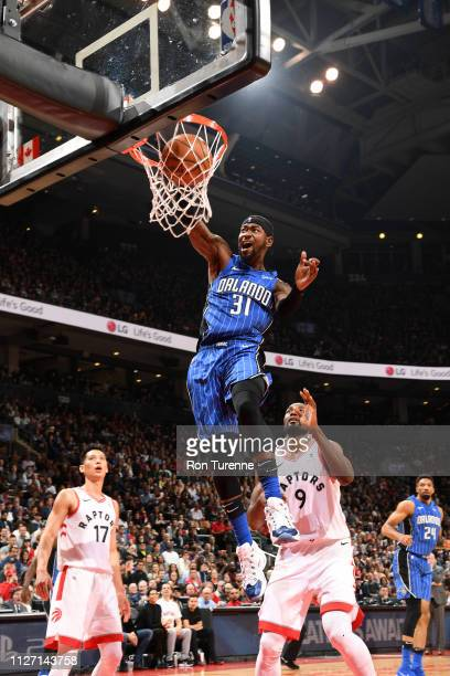 Terrence Ross of the Orlando Magic dunks the ball against the Toronto Raptors on February 24 2019 at the Scotiabank Arena in Toronto Ontario Canada...