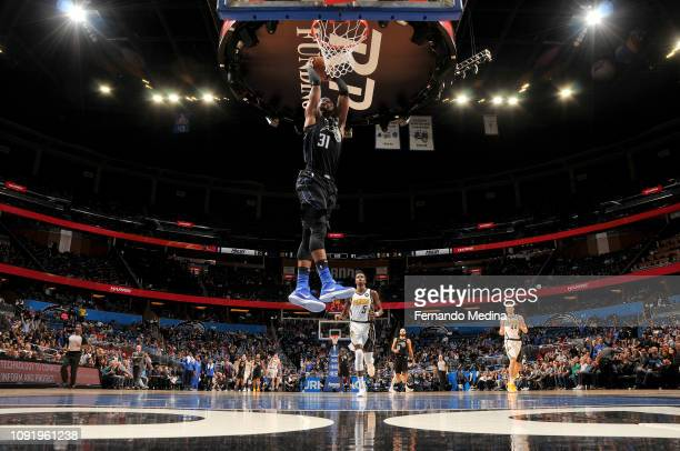 Terrence Ross of the Orlando Magic dunks the ball during the game against the Indiana Pacers on January 31 2019 at Amway Center in Orlando Florida...