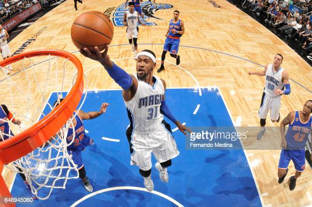 Terrence Ross of the Orlando Magic goes up for a lay up during a game against the New York Knicks on March 1 2017 at Amway Center in Orlando Florida...