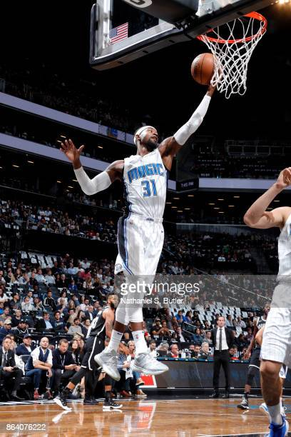Terrence Ross of the Orlando Magic grabs the rebound against the Brooklyn Nets on October 20 2017 at Barclays Center in Brooklyn New York NOTE TO...