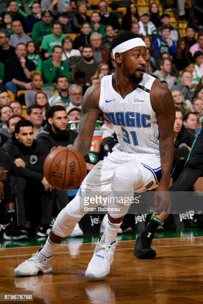 Terrence Ross of the Orlando Magic handle the ball during the game against the Boston Celtics on November 24 2017 at the TD Garden in Boston...