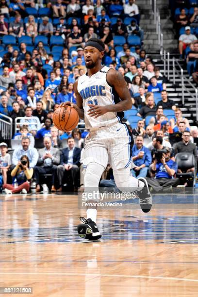 Terrence Ross of the Orlando Magic handles the ball against the Oklahoma City Thunder on November 29 2017 at Amway Center in Orlando Florida NOTE TO...