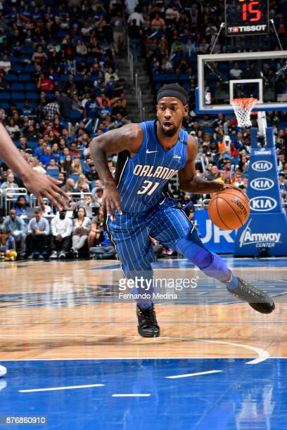 Terrence Ross of the Orlando Magic handles the ball against the Indiana Pacers on November 20 2017 at Amway Center in Orlando Florida NOTE TO USER...