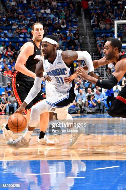 Terrence Ross of the Orlando Magic handles the ball during the game against the Miami Heat on October 18 2017 at Amway Center in Orlando Florida NOTE...