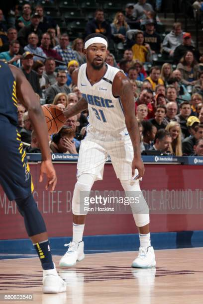 Terrence Ross of the Orlando Magic handles the ball during the game against the Indiana Pacers on November 27 2017 at Bankers Life Fieldhouse in...