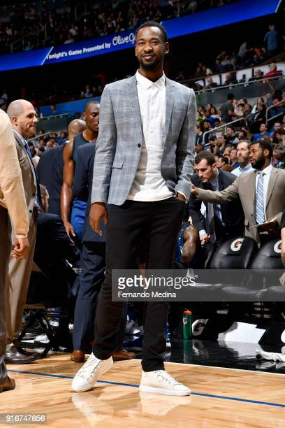 Terrence Ross of the Orlando Magic looks on during the game against the Milwaukee Bucks on February 10 2018 at Amway Center in Orlando Florida NOTE...
