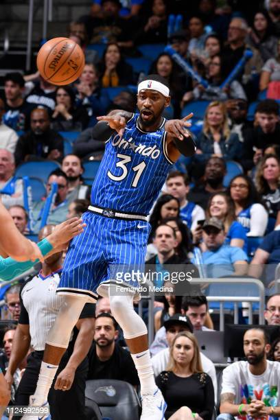 Terrence Ross of the Orlando Magic passes the ball against the Charlotte Hornets on February 14 2019 at Amway Center in Orlando Florida NOTE TO USER...