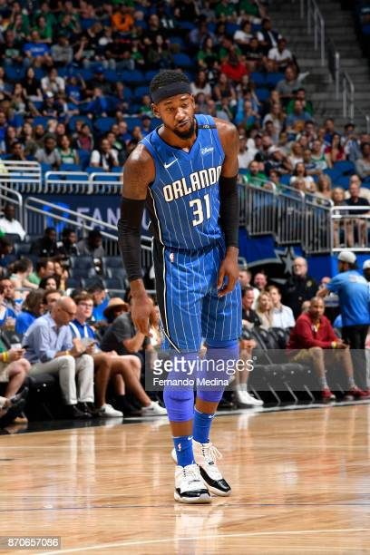 Terrence Ross of the Orlando Magic reacts against the Boston Celtics on November 5 2017 at Amway Center in Orlando Florida NOTE TO USER User...