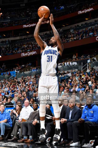 Terrence Ross of the Orlando Magic shoots the ball against the Oklahoma City Thunder on November 29 2017 at Amway Center in Orlando Florida NOTE TO...
