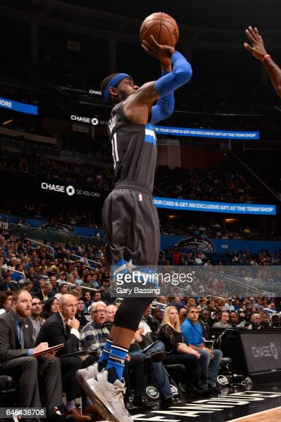 Terrence Ross of the Orlando Magic shoots the ball against the Atlanta Hawks on February 25 2017 at the Amway Center in Orlando Florida NOTE TO USER...