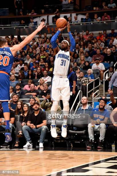 Terrence Ross of the Orlando Magic shoots the ball against the New York Knicks on November 8 2017 at Amway Center in Orlando Florida NOTE TO USER...