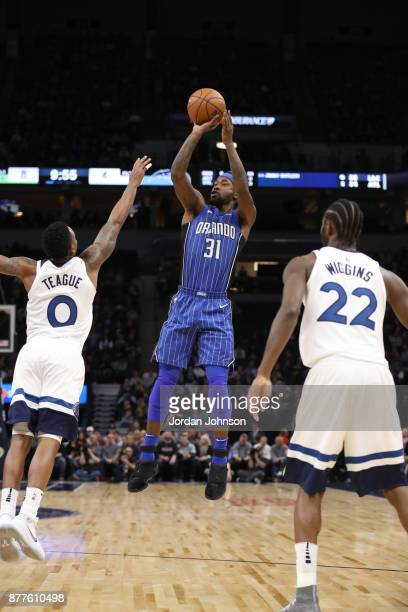 Terrence Ross of the Orlando Magic shoots the ball against the Minnesota Timberwolves on November 22 2017 at Target Center in Minneapolis Minnesota...