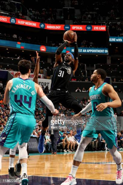 Terrence Ross of the Orlando Magic shoots the ball during the game against the Charlotte Hornets on April 10 2019 at Spectrum Center in Charlotte...