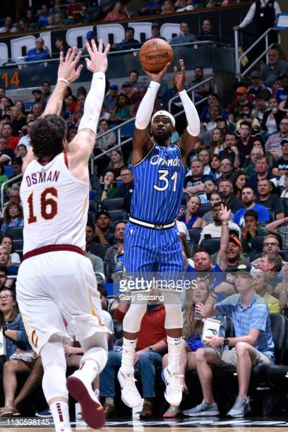 Terrence Ross of the Orlando Magic shoots three point basket against the Cleveland Cavaliers on March 14 2019 at Amway Center in Orlando Florida NOTE...
