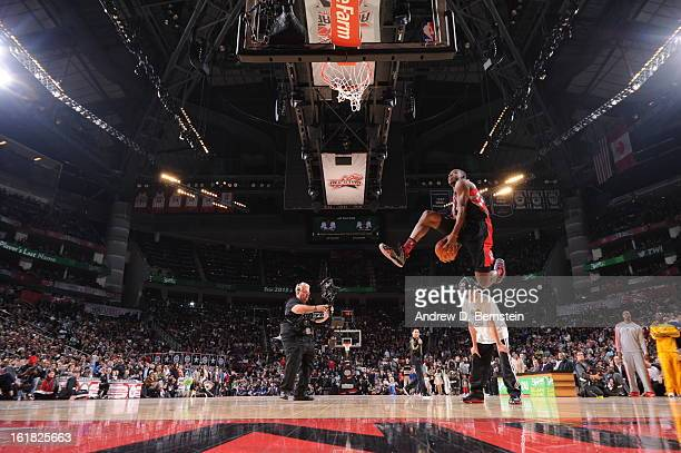Terrence Ross of the Toronto Raptors attempts a dunk during the 2013 Sprite Slam Dunk Contest on State Farm All-Star Saturday Night as part of 2013...