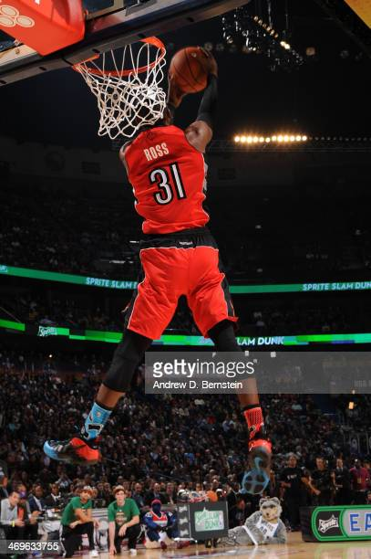 Terrence Ross of the Toronto Raptors attempts a dunk during the Sprite Slam Dunk Contest on State Farm AllStar Saturday Night as part of the 2014...