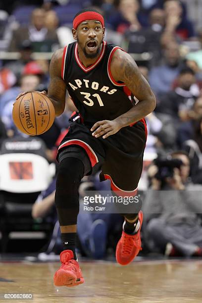 Terrence Ross of the Toronto Raptors brings the ball up the floor against the Washington Wizards in the first half at Verizon Center on November 2...