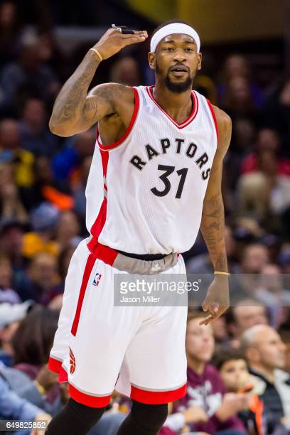 Terrence Ross of the Toronto Raptors celebrates after hitting a three during the second half against the Cleveland Cavaliers at Quicken Loans Arena...