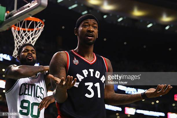 Terrence Ross of the Toronto Raptors disputes a call during the third quarter against the Boston Celtics at TD Garden on March 23 2016 in Boston...