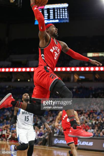Terrence Ross of the Toronto Raptors drives to the basket against the Minnesota Timberwolves on February 8 2017 at Target Center in Minneapolis...