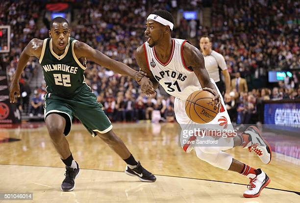 Terrence Ross of the Toronto Raptors drives to the basket during the game against the Milwaukee Bucks on December 11 2015 at the Air Canada Centre in...