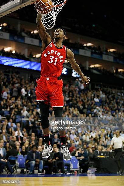 Terrence Ross of the Toronto Raptors dunks against the Orlando Magic as part of the 2016 Global Games London on January 14 2016 at The O2 Arena in...