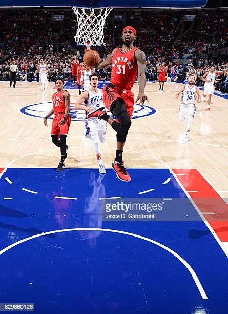 Terrence Ross of the Toronto Raptors dunks the ball against the Philadelphia 76ers at Wells Fargo Center on December 14 2016 in Philadelphia...