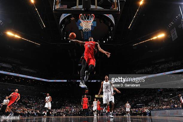 Terrence Ross of the Toronto Raptors dunks the ball against the Brooklyn Nets at Barclays Center on April 3 2015 in Brooklyn New York NOTE TO USER...