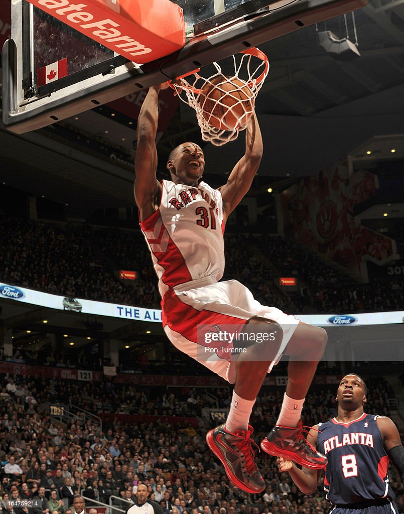 Terrence Ross #31 of the Toronto Raptors dunks the ball during the game between the Toronto Raptors and the Atlanta Hawks on March 27, 2013 at the Air Canada Centre in Toronto, Ontario, Canada.
