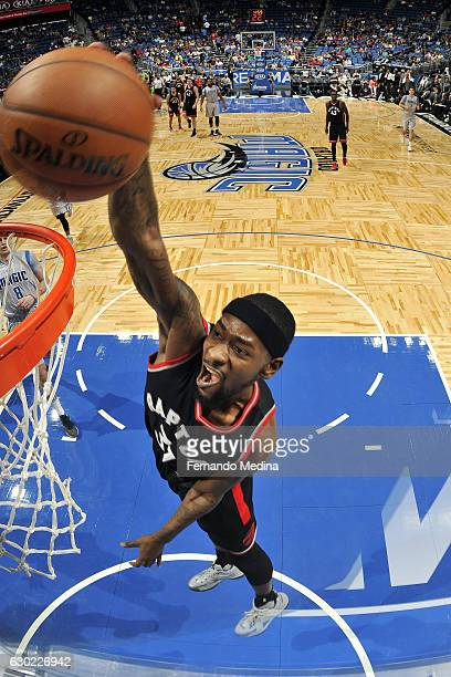 Terrence Ross of the Toronto Raptors dunks the ball during the game against the Orlando Magic on December 18 2016 at Amway Center in Orlando Florida...