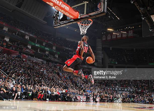 Terrence Ross of the Toronto Raptors during the 2013 Sprite Slam Dunk Contest on State Farm All-Star Saturday Night as part of the 2013 NBA All-Star...