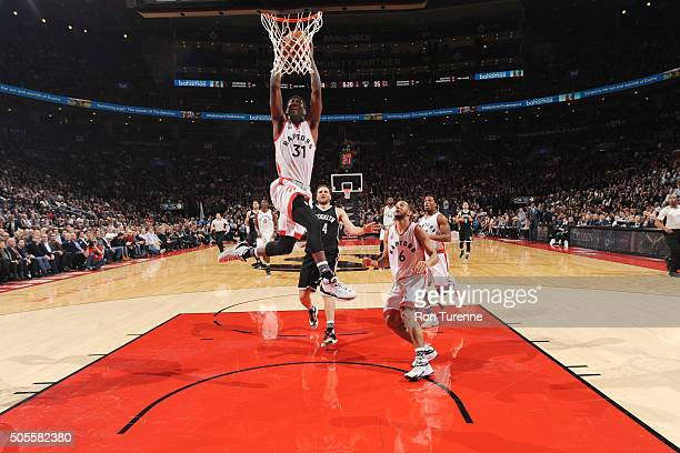 Terrence Ross of the Toronto Raptors goes for the dunk during the game against the Brooklyn Nets on January 18 2016 at the Air Canada Centre in...