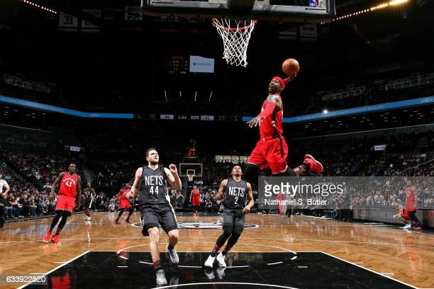 Terrence Ross of the Toronto Raptors goes for the dunk during the game against the Brooklyn Nets on February 5 2017 at Barclays Center in Brooklyn...