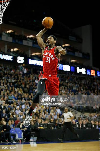 Terrence Ross of the Toronto Raptors goes up for a dunk against the Orlando Magic as part of the 2016 Global Games London on January 14 2016 at The...