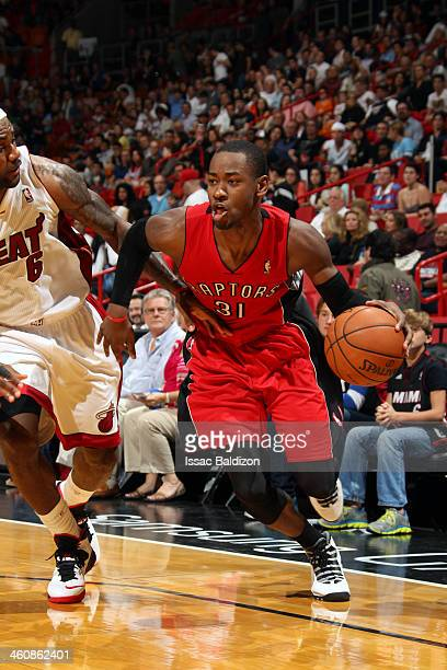 Terrence Ross of the Toronto Raptors handles the ball against the Miami Heat at the American Airlines Arena in Miami Florida on Jan 5 2014 NOTE TO...