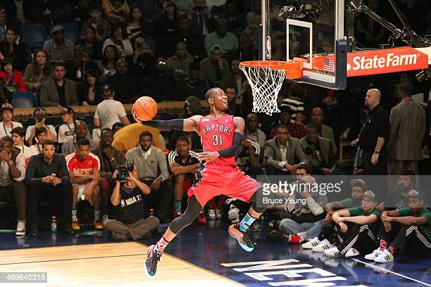 Terrence Ross of the Toronto Raptors participates in the Sprite Slam Dunk Contest on State Farm AllStar Saturday Night as part of the 2014 AllStar...