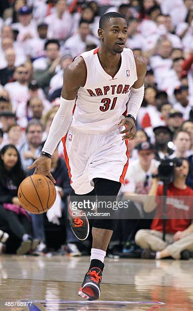 Terrence Ross of the Toronto Raptors plays against the Brooklyn Nets in Game One of the NBA Eastern Conference playoff at the Air Canada Centre on...