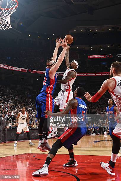 Terrence Ross of the Toronto Raptors shoots the ball against the Detroit Pistons on October 26 2016 at the Air Canada Centre in Toronto Ontario...