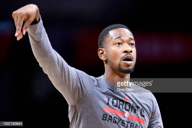 Terrence Ross of the Toronto Raptors warms up before the game against the LA Clippers on November 22 2015 at the STAPLES Center in Los Angeles...