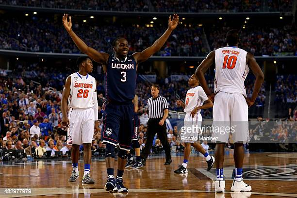 Terrence Samuel of the Connecticut Huskies celebrates after defeating the Florida Gators 6353 in the NCAA Men's Final Four Semifinal at ATT Stadium...