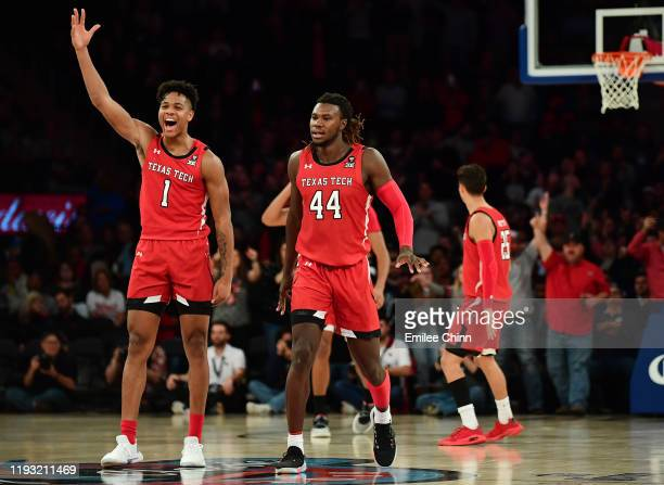 Terrence Shannon Jr #1 of the Texas Tech Red Raiders reacts during the second half of their game against the Louisville Cardinals at Madison Square...