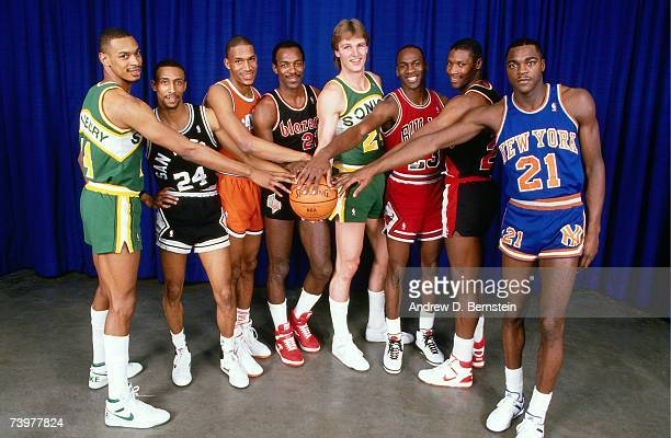 Terrence Standsbury Johnny Dawkins Ron Harper Clyde Drexler Tom Chambers Michael Jordan Jerome Kersey and Gerald Wilkins pose for a portrait prior to...