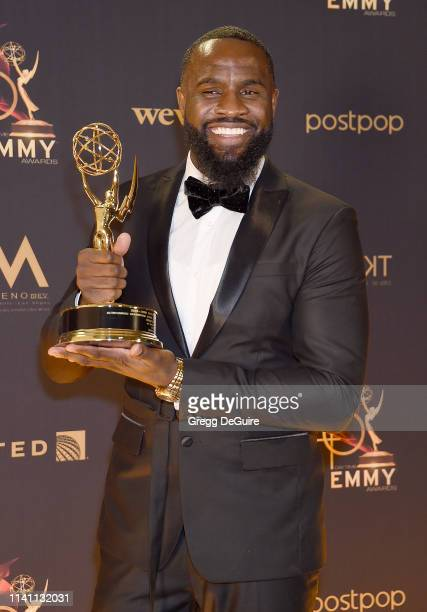 Terrence Terrell for 'Giants' winner of the award for Outstanding Supporting Actor in a Digital Daytime Drama Series poses with award at the 46th...