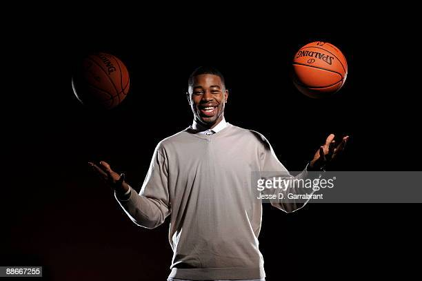 Terrence Williams NBA Draft Prospect poses for a portrait during media availability for the 2009 NBA Draft at The Westin Hotel in Times Square on...