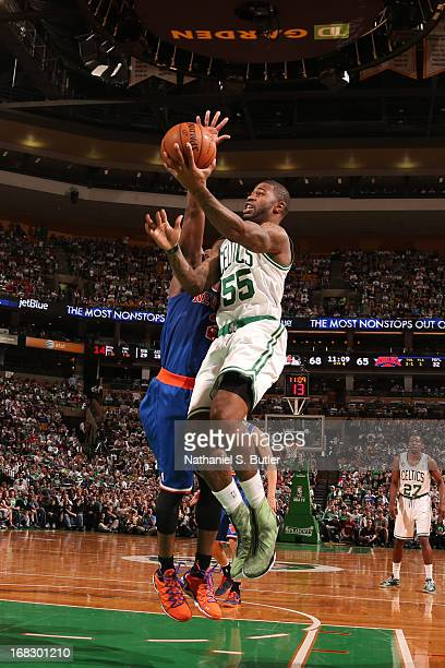 Terrence Williams of the Boston Celtics drives to the basket against the New York Knicks in Game Four of the Eastern Conference Quarterfinals during...