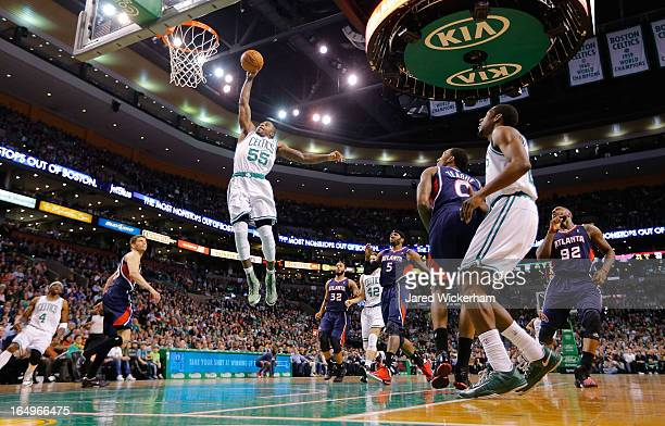 Terrence Williams of the Boston Celtics dunks the ball against the Atlanta Hawks in the second quarter during the game on March 29 2013 at TD Garden...