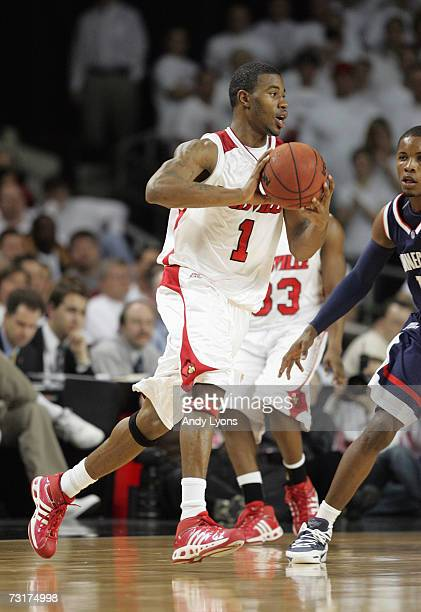 Terrence Williams of the Louisville Cardinals passes the ball against the Connecticut Huskies during the Big East Conference game against at Freedom...