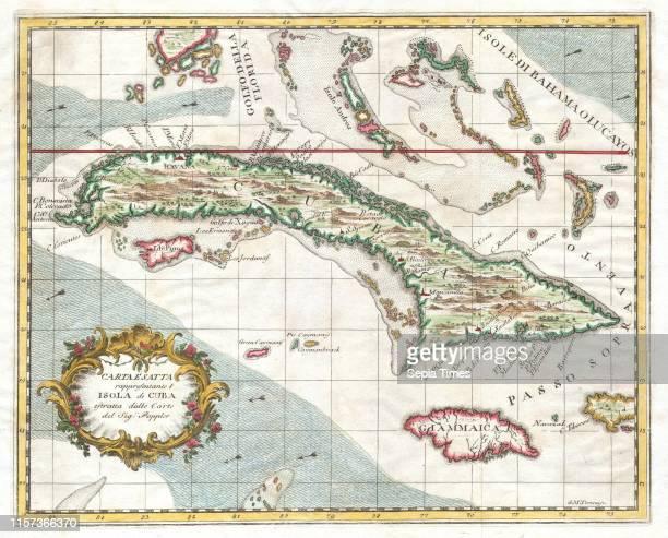 1763 Terreni Coltellini Map of Cuba and Jamaica
